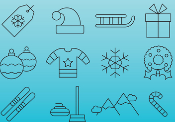 Blue Christmas line icons - Free vector #407631