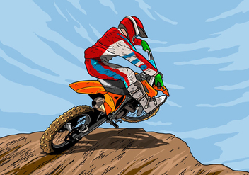 Dirt Bikes Rider Take Action - Free vector #407701