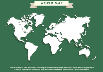Green World Map Vector - vector #407741 gratis