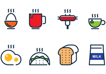 Breakfast Food Linear - Free vector #407821