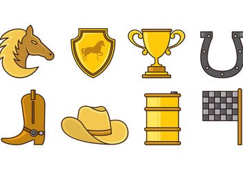 Set Of Barrel Racing Icons - Free vector #407851