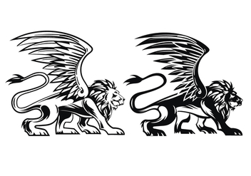 Prowling Winged Lion Vectors - Free vector #407871
