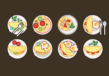 Omelet Vector Set Illustration - vector gratuit #407881