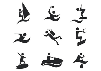 Free Water Sports Icons Vector - Free vector #407891