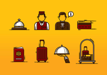 Concierge Icon Set Vector - vector gratuit #408141