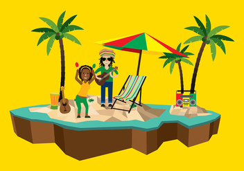 Dreads Reggae Beach Free Vector - бесплатный vector #408171