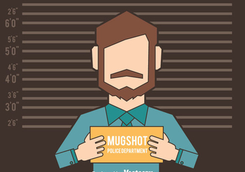 Mugshot Background With Man Figure Vector - Free vector #408311