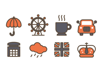 London related design icons - Free vector #408411