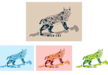 Wildcat in Popart Portrait - Free - vector gratuit #408651