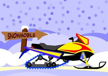 Illustration Snowmobile with snow background - Free vector #408691