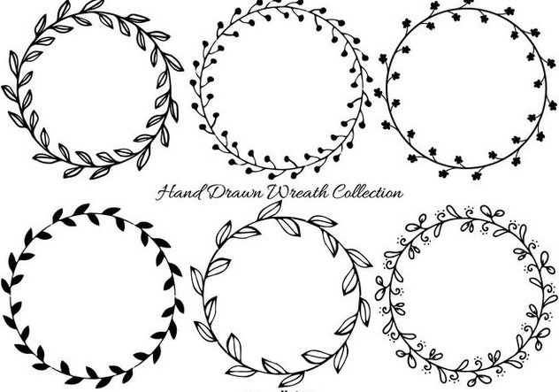 Cute Hand Drawn Wreath Frames - vector gratuit #408911