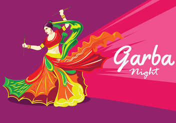 Vector Design of Woman Playing Garba Dance - Free vector #408921