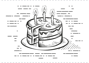 Free Vintage Hand Drawn Birthday Cake Background - бесплатный vector #408971