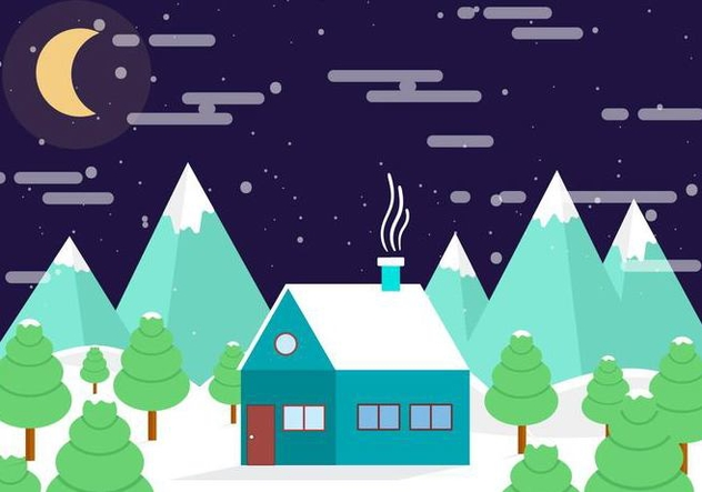 Free Vector Winter Night Landscape - Kostenloses vector #409021