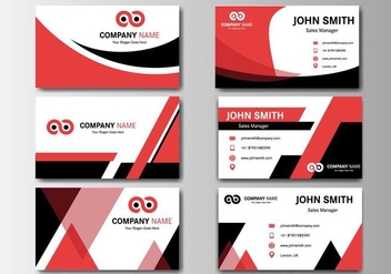 Free Business Red Name Card Vector - vector gratuit #409171