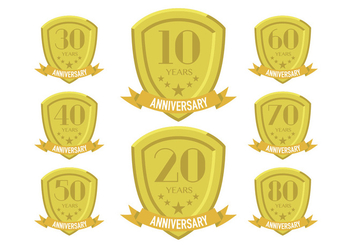 Gold anniversary patches - vector #409271 gratis