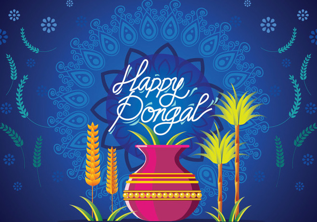 Vector Illustration of Happy Pongal Greeting Card - Free vector #409641