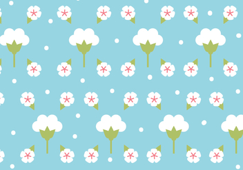 Flat Design Cotton Flower Pattern - Free vector #409811