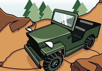Illustration Of Jeep On The Mountain - vector gratuit #409831