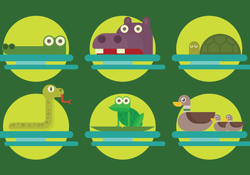 Free Swamp Animals Icons Vector - бесплатный vector #409891