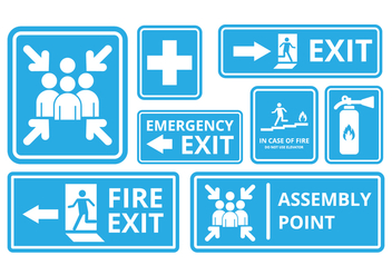 Free Fire Exit and Emergency Sign Vector - Kostenloses vector #410141