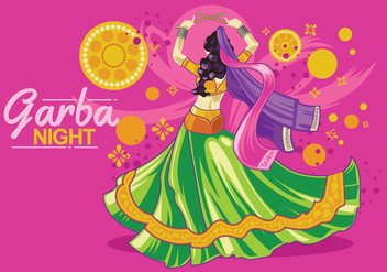 Vector Design of Woman Playing Garba Dance - Free vector #410221