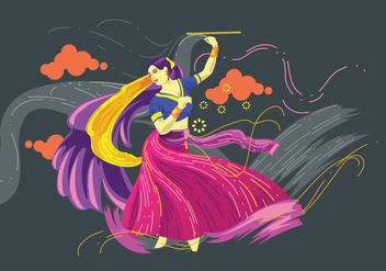 Vector Design of Woman Playing Garba Dance - Free vector #410231