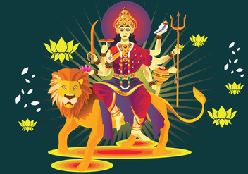 Vector Illustration of Goddess Durga in Subho Bijoya - бесплатный vector #410331