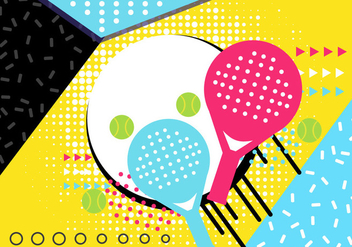 Padel Tennis 90's Poster Background - vector gratuit #410361