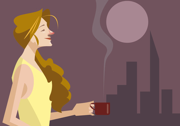 Girl With a Cup of a Hot Coffee Vector - Free vector #410391