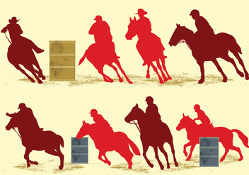 Barrel Racing Silhouette Illustration - vector gratuit #410551