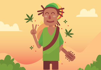 Guy with Dreads Vector Design - бесплатный vector #410611