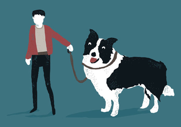 Man with Border Collie Vector Illustration - Kostenloses vector #410661