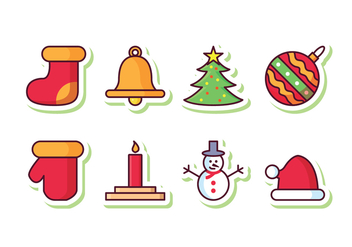 Free Christmas Sticker Icon Set - vector gratuit #410941