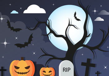 Free Halloween Graveyard Vector Background - бесплатный vector #411051