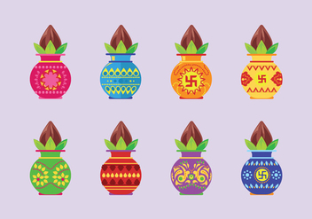 Set Vector Illustration of Kalash with Coconut and Mango Leaf - Free vector #411161