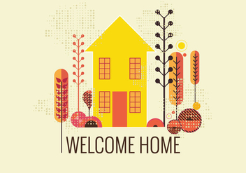 Retro Style Welcome Home Vector - Free vector #411251