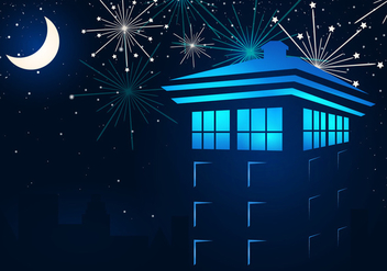 Tardis In The Night With Fireflies - vector gratuit #411721