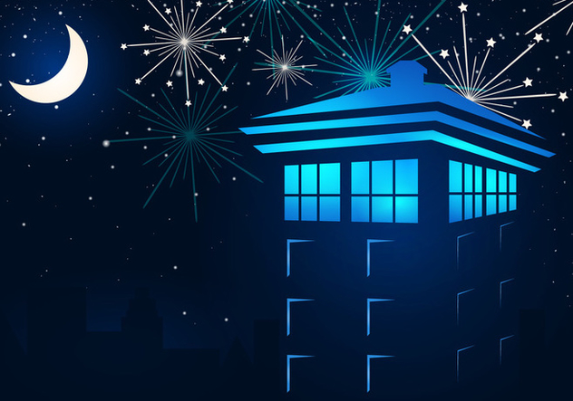 Tardis In The Night With Fireflies - Free vector #411721
