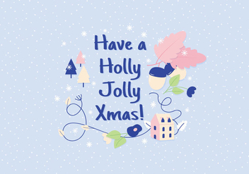 Holly Jolly Christmas Illustration Greeting - vector gratuit #411831