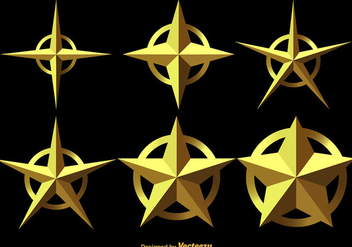 Set Of 3D Stars Vector Icons - Free vector #411951
