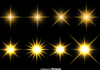 Set Of Glowing Stars Vector Icons - Free vector #411961