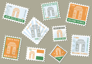 Free India Gate Stamp Vector - vector gratuit #412291