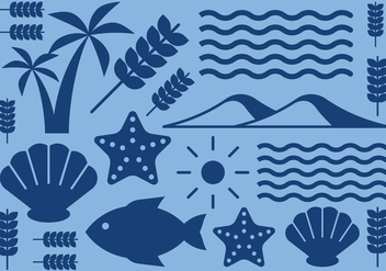 Nature Beach Icons - vector gratuit #412611