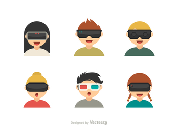 Free Vector Kids With Virtual Reality Glasses Icons - Free vector #412921