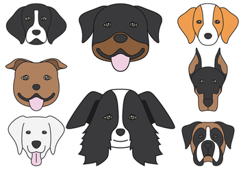 Dog head Icons - Free vector #413621