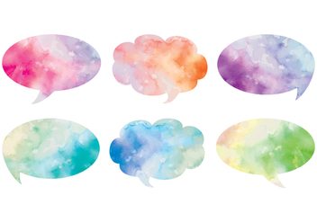 Vector Watercolor Text Bubbles - Kostenloses vector #413631