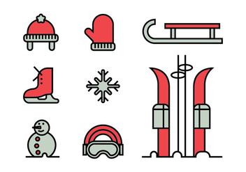 Winter activities icon set - vector #413951 gratis