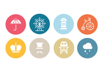 London Flat Icon Set - vector #413971 gratis