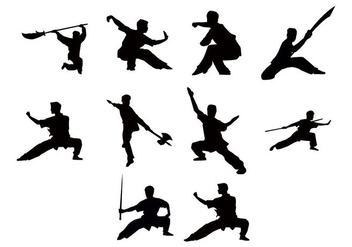 Free Wushu Silhouettes Vector - Free vector #414001